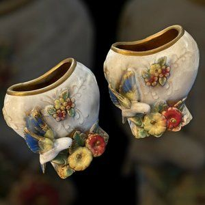 Vintage Pair of Bird Vases